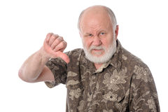 Senior man shows Talk to the hand gesture, isolated on white Stock Image