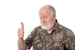 Senior man shows thumbs up gesture, isolated on white Stock Photo