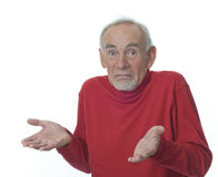 Senior man shrugging his shoulders. Confused senior man on white background. Expression could mean 'What can I do?' , helplessness, no more ideas Royalty Free Stock Photography
