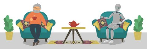Senior man sitting in armchair, drinking tea and talking with robot. royalty free illustration