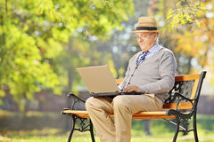 Senior man sitting on a bench and working on a laptop in a park stock photos