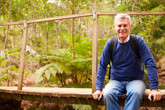 Senior man sitting on a bridge in a forest looking to camera Stock Photography
