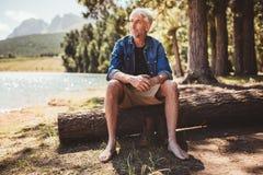 Senior man sitting on a log near lake Royalty Free Stock Photos