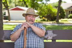 Senior man sitting on park bench Royalty Free Stock Photo