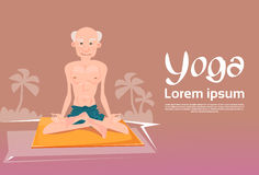 Senior Man Sitting In Yoga Lotus Position Relaxing Doing Exercises Royalty Free Stock Photo