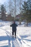 Senior man skiing. Senior man enjoys cross-country skiing royalty free stock images