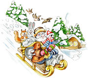 Senior man sledding down from the hill. Cartoon old man in company of fanny animals (squirrel, hedgehog, hare, bird) comes down from the hill in a sledge Stock Photos