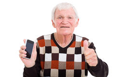 Senior man smart phone Stock Image