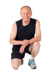 Senior man. Smile. Fit senior man smiles after exercises Royalty Free Stock Photo