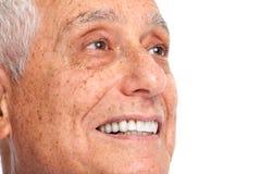 Senior man smile. Happy smiling elderly man face isolated white background Royalty Free Stock Photography