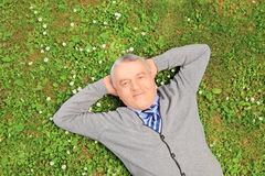 Senior man smiling and resting on grass in a park Stock Photos