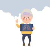 Senior Man Smoking, Lung Problem Royalty Free Stock Images