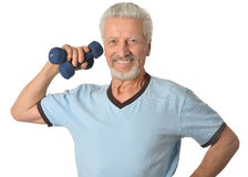 Senior man Standing With Dumbbell Stock Photography
