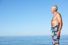 Senior Man Standing On Summer Beach Royalty Free Stock Photography