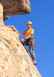 Senior man on steep rock climb in Colorado Royalty Free Stock Images