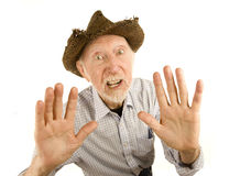 Senior man in straw hat Royalty Free Stock Photography