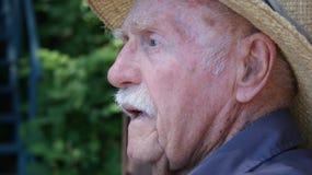 Senior man in straw hat Royalty Free Stock Photo