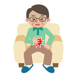 Senior man suffering from abdominal pain. Vector illustration.Original paintings and drawing Royalty Free Stock Images