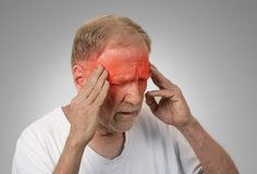 Senior man suffering from headache Royalty Free Stock Photos