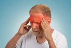 Senior man suffering from headache Royalty Free Stock Image