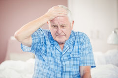 Senior man suffering from headache Royalty Free Stock Images