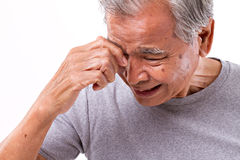Senior man suffering from headache, stress, migraine Royalty Free Stock Photography