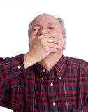 Senior man suffering from a toothache Stock Photos