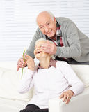 Senior man surprising woman Royalty Free Stock Images