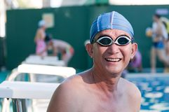 Senior man in swimming pool Royalty Free Stock Photography