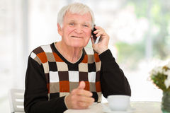 Senior man talking cell Stock Photos