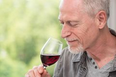 Mature man tasting red wine. Senior man tasting red wine Royalty Free Stock Photography