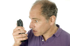 Senior man telephone angry emotion Stock Images