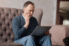 Senior man with terrible toothache Royalty Free Stock Photography