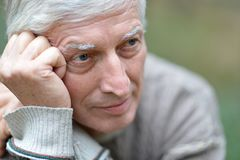 Senior man thinking Royalty Free Stock Photos