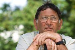 Senior man thoughtful portrait royalty free stock photos