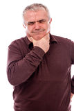 Senior man with throat pain Stock Photos