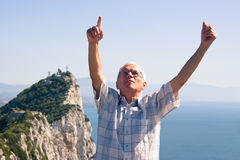 Senior man tourist at the Rock of Gibraltar Stock Photos