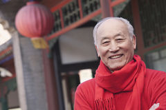 Senior Man in Traditional Chinese Courtyard Royalty Free Stock Photos