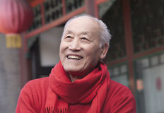 Senior Man in Traditional Chinese Courtyard Stock Photos