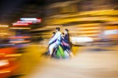 Senior man transports on motor bike Royalty Free Stock Photos