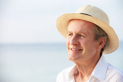 Senior Man On Tropical Beach Holiday Stock Images