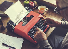 Senior Man Typing Typewriter Vintage Style Concept Royalty Free Stock Photos