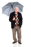 Senior man umbrella Royalty Free Stock Photos