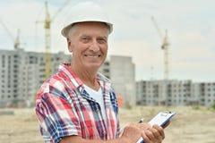 Senior man in under construction Royalty Free Stock Photo