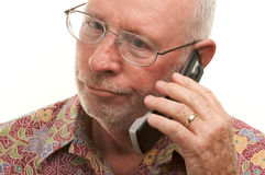 Senior Man Using Cell Phone Stock Photography