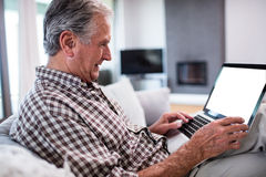 Senior man using laptop in living room Royalty Free Stock Image