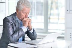 Senior man  using laptop Royalty Free Stock Photos