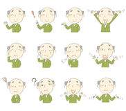 Senior man with various poses and emotions Royalty Free Stock Photo