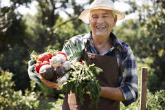 Senior man with vegies Royalty Free Stock Photography