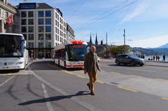 Senior Man  walk by the road in Zurich Royalty Free Stock Photo